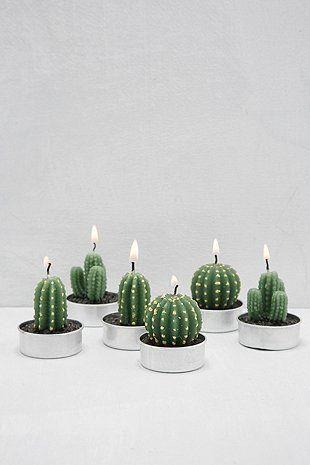 6-PC Mini Cactus Wax Tealight Candle Set