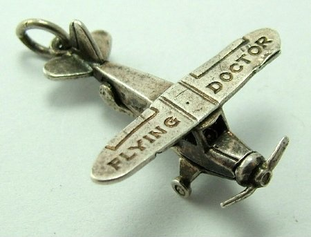 Flying doctor opening aeroplane charm. Sandys Vintage Charms.