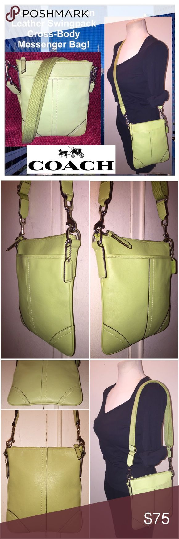 """Coach Lime Green Leather Swingpack Messenger Bag! Coach Lime Green Leather Swingpack Cross-Body Messenger Bag! Features: 100% authentic, lime green color, genuine leather exterior, silvertone hardware, single adjustable crossbody strap, zip top closure, interior fabric lining & front slip pocket. Coach hang tag. Note! Some Coach swingpack styles do not have the creed.   Retail: $168. Measures approx. 8 1/2"""" high x 7 1/2"""" across x 1"""" wide. Strap adjustable from 14"""" - 24"""" (body) clearance…"""