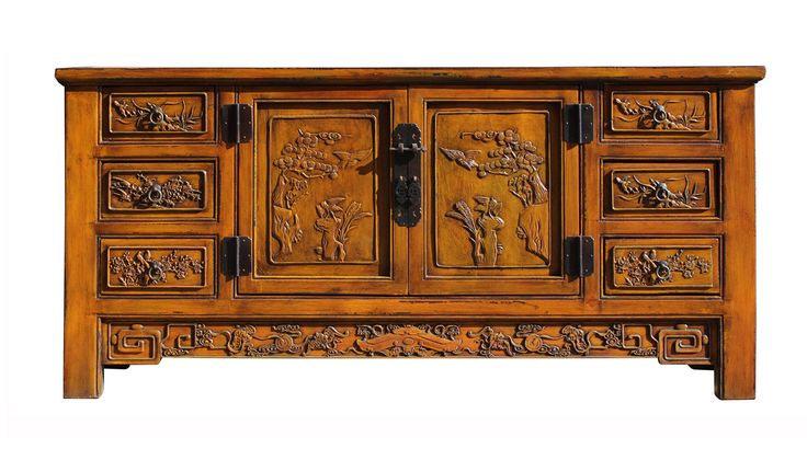 Chinese Distressed Mustard Yellow Carving Motif Low TV Console Table Cabinet cs2296S