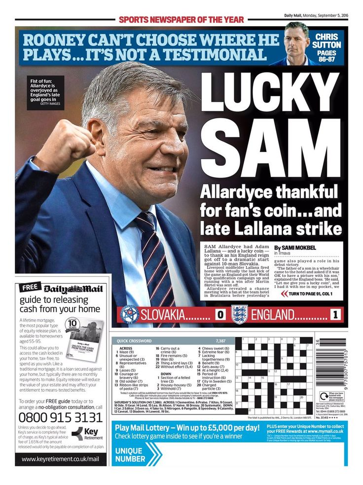5th September 2016 Daily Mail back page: Lucky Sam