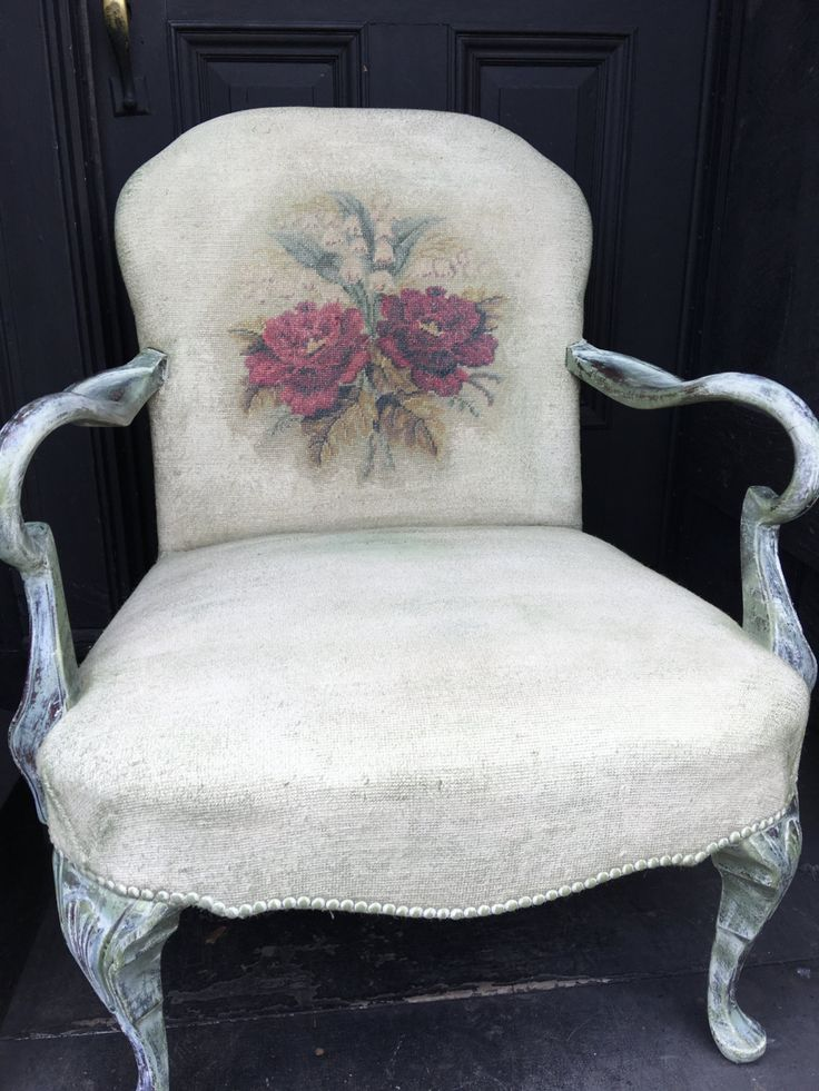 Vintage Needlepoint Chair   Painted Side Chair   French Country Chair   Vintage  Slipper Chair   Shabby Chic Chair   Vintage Chair By DareToBeVintagu2026