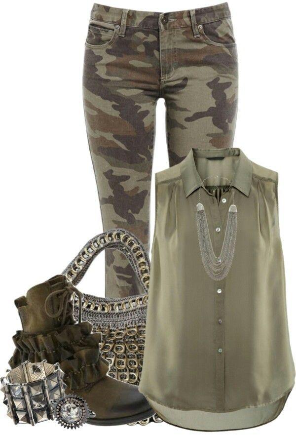 army outfit  moda calças looks femininos
