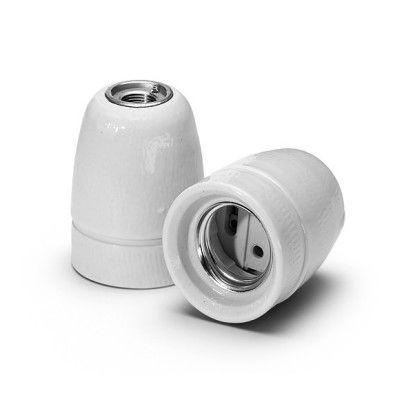Portalámparas E27 porcelana blanco grisáceo  #lamparas #montar #fabricar #decoracion #accesorios #piezas