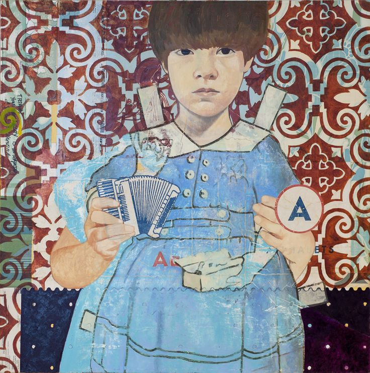 Il regalo più bello, 2014, collage and oil on canvas, 90x90 Cm  From the exhibit IO NON HO PAURA, z2o Gallery/Sara Zanin, Rome