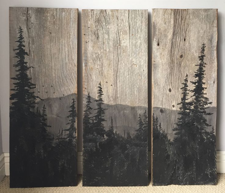 14X38inch Large Mountain View Painting on Reclaimed Barn Board by AshesToArtMyranda on Etsy