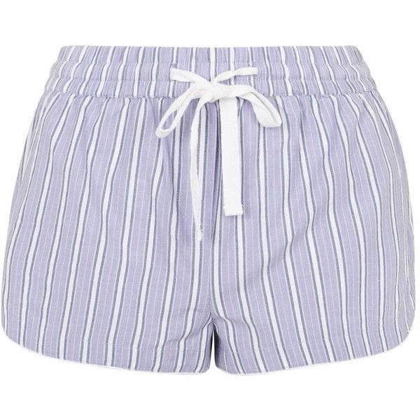 TOPSHOP Striped Pajama Shorts ($26) ❤ liked on Polyvore featuring intimates, sleepwear, pajamas, lilac, striped pjs, striped pyjamas, cotton sleepwear, striped pajamas and cotton pajamas