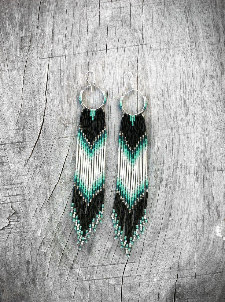 XX Long Fringe Beaded Earrings, Mint, Teal, Black Shoulder Dusters, Long Seed Bead Earrings, Native American Inspired, Tribal, Southwestern. $90.00, via Etsy.