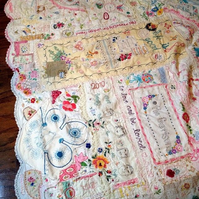 "Finished it! And now I'm itching to use it to start a new ""journal quilt"" but must finish other things first #controlingmycreativeurges #commitmentissues 
