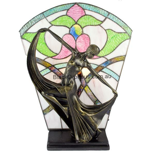 Art Deco Stained Glass Floral Table Lamp H40cm - Black Orpheus