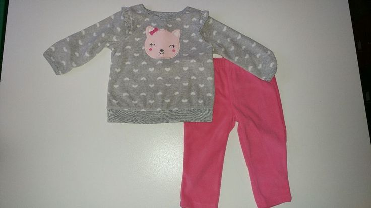 Carter's 6-9 Months 2 Piece Gray Kitty Cat Fleece Top, Pink Soft Pant Outfit Set #Carters #Everyday