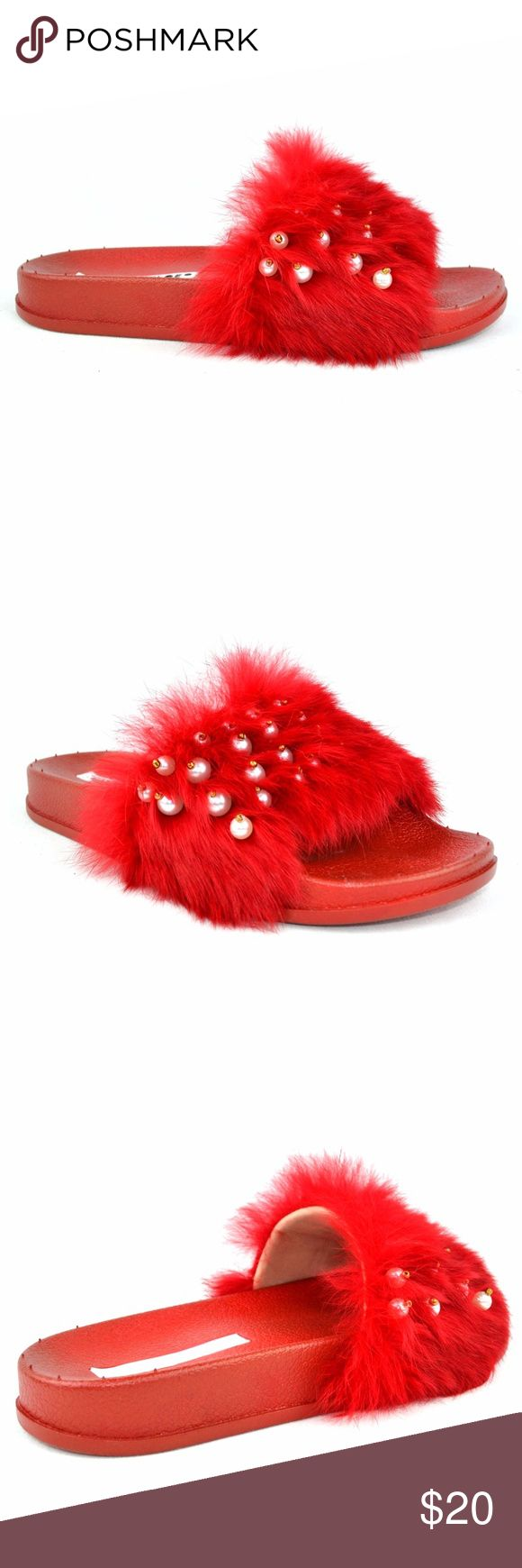 "Women's Red Flip Flop Flat With Pearls on Furry Synthetic Imported Rubber sole Platform measures approximately 1.00"" Open Toe Pearls on Furry Women's Fashion Flip Flop Approx 1.5 Heel Height Chase & Chloe Furry-5 Chase & Chloe Shoes Flats & Loafers"