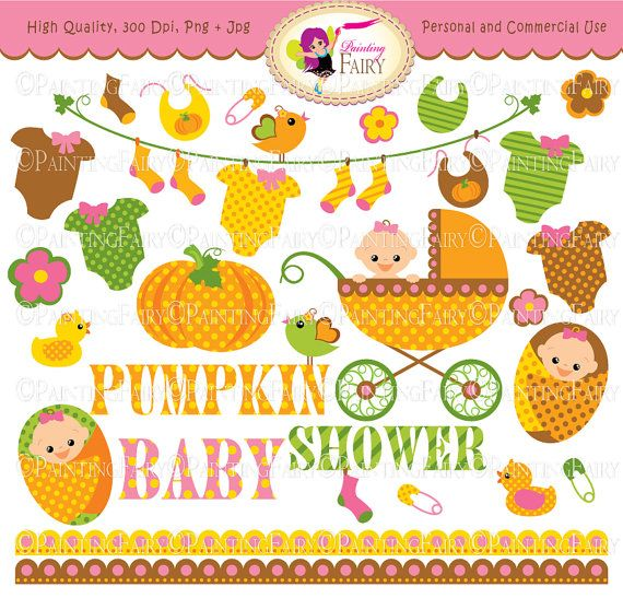 Autumn Baby Girl Clipart Cute pumpkin Baby clothes line socks Baby Shower Fall baby carriage flowers birds socks Cliparts elements pf00047-1  Own Original Clipart Graphics   Personal & Commercial Use Ok  Everything Else Graphic Design stationery scrapbook girl embellishment Commercial Use Ok pumpkin illustration polka dots clipart scrapbooking graphic baby shower image paper goods clipart handmade invitation baby clothes line scalloped border cu pink announcement girlish card making