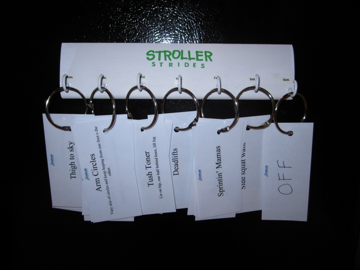 So happy with this! I teach 6 classes of Stroller Strides a week (usually 4 but other instructor is due in 6 days!)---and this helps me organize all my classes at the beginning of the week and just grab my class plan on the way out the door. Plus, I know they aren't getting he same exercise twice!  (All cards are laminated for weather)