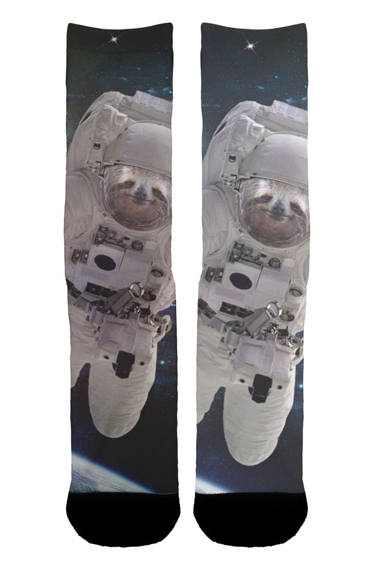 Astronaut Sloth Socks by Shweeet on Etsy https://www.etsy.com/listing/385010770/astronaut-sloth-socks