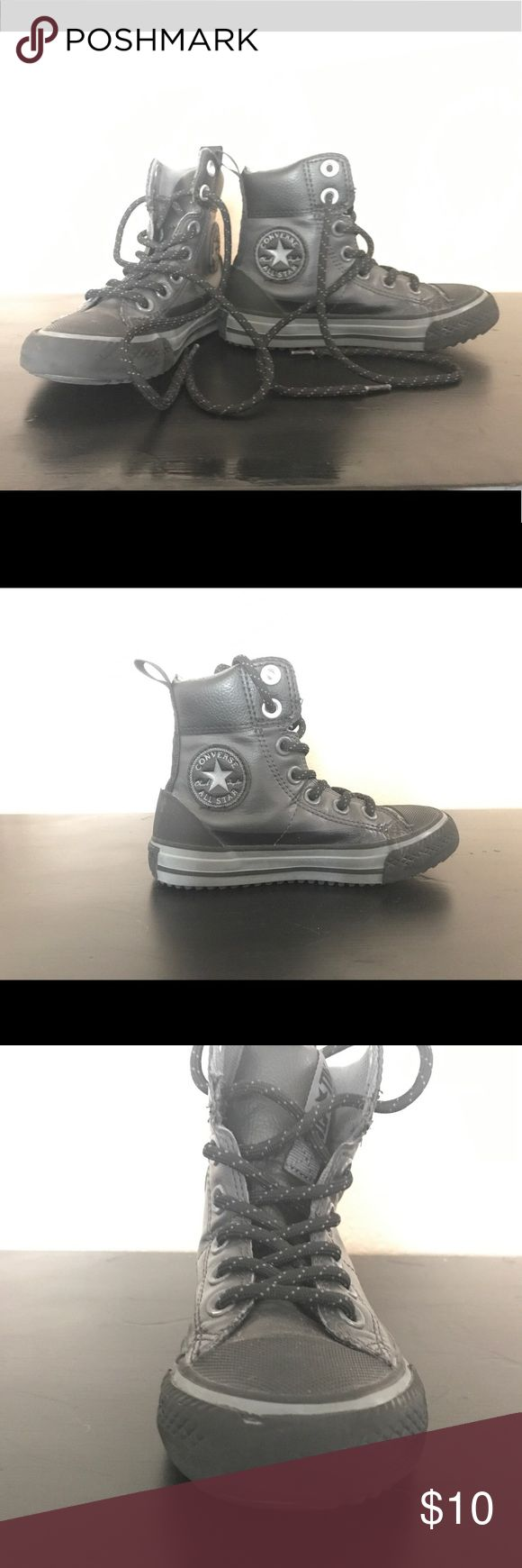 Boys Black Leather Converse Black leather Converse hi top shoes. Little boys size 11 Converse Shoes Sneakers