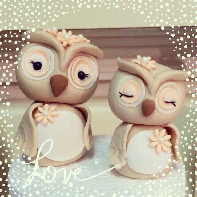 Owls cake topper .
