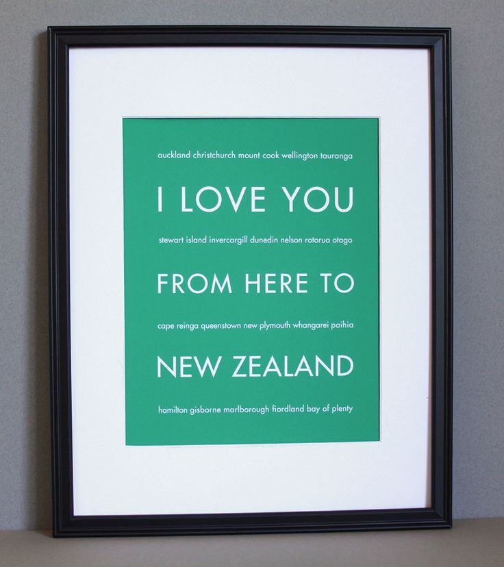 New Zealand Travel Art, I Love You From Here To NEW ZEALAND, 8x10 bought it :)