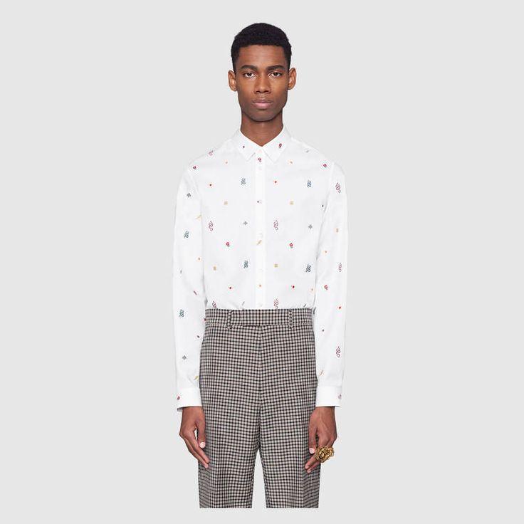 Gucci Symbols Oxford cotton Duke shirt Detail 3