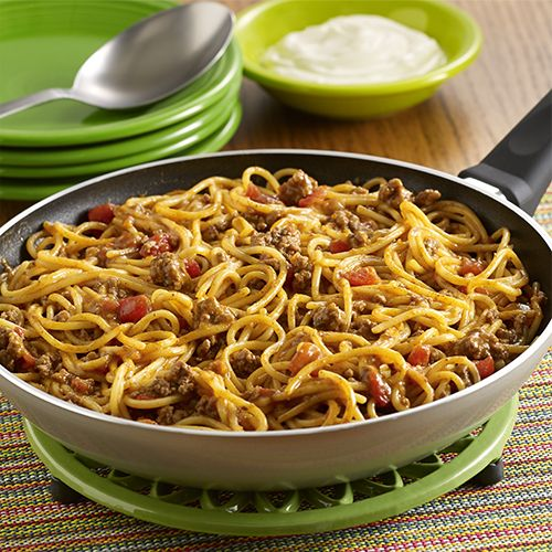 Taco Spaghetti Skillet: A Pot-Sized Pasta recipe with the flavor of tacos made in one pan using ground beef, zesty tomatoes and spaghetti, topped with sour cream:
