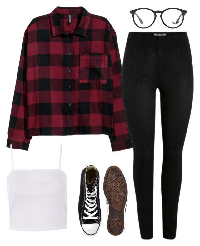 """#46"" by mintgreenb on Polyvore featuring H&M, Ray-Ban, Topshop and Converse"