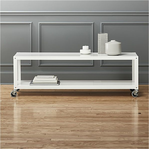 go-cart white rolling tv stand/coffee table  | CB2
