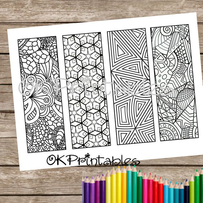 PDF Coloring Page Bookmark Design 3 Zendoodle Zentangle Inspired Printable By Okprintables On Zibbet