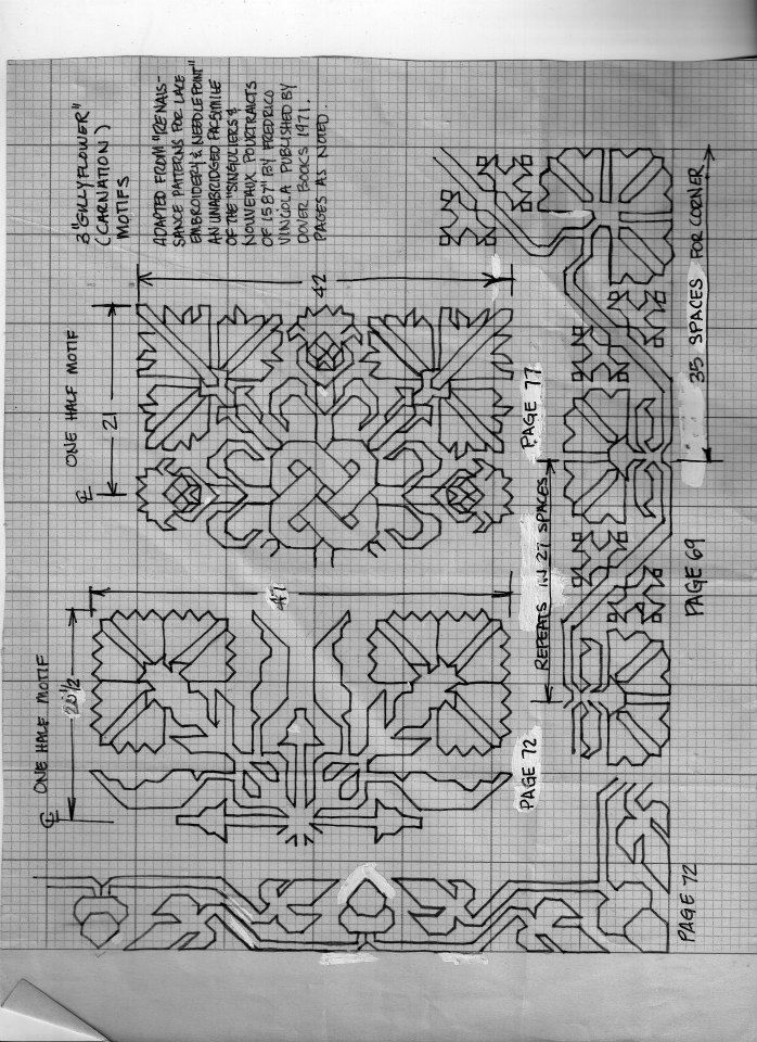 Some blackwork borders and centerpieces.