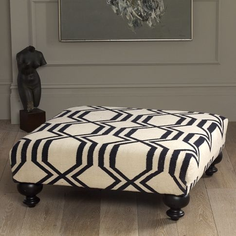 ottoman from West Elm. love the graphic pattern.
