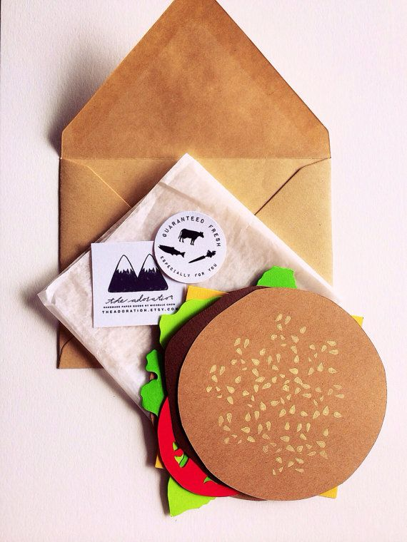 Burger  Card  by theadoration on Etsy, $6.49