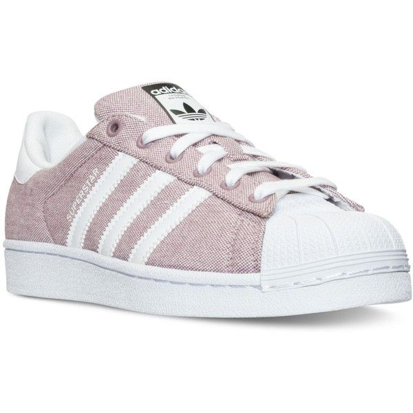 adidas Women's Superstar Casual Sneakers from Finish Line ($80) ❤ liked on Polyvore featuring shoes, sneakers, low profile sneakers, adidas, rubber shoes, adidas footwear and low top