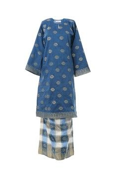 Women's Kurung Pahang Songket Tabur Blue from MOTHER & CHILD in blue_1