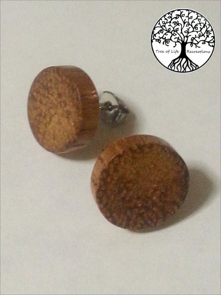 Hand Turned Wood Stud Earrings (1.5cm in diameter), Surgical Steel Post, Shellac Finish by TLRecreations on Etsy