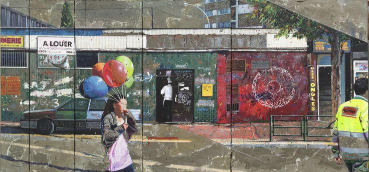 Wall of fame  Acrylique, résine et ciment sur toile 120 x 246cm