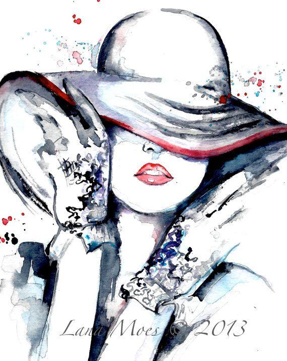 Paris Fashion Illustration Original Watercolor by LanasArt