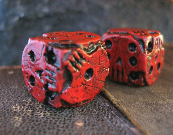 Hand cast red skull dice oogie boogie dice by FairyTaleNightmares