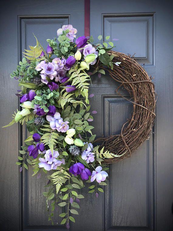 Spring Summer Wreath Purple Green Door Wreaths Spring Front Door Wreath Gift For Her Housewarming Gift Spring Do Wreaths Wreath Decor Spring Door Wreaths