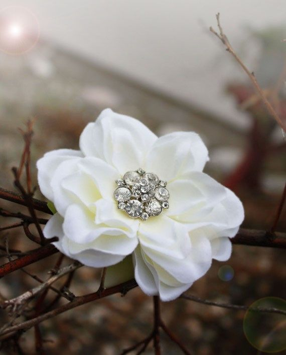 Shayla this could be pretty in your hair? floral bridal fascinator vintage rhinestone by serenitycrystal