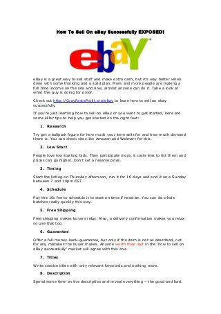 How to Sell on eBay Successfully EXPOSED!