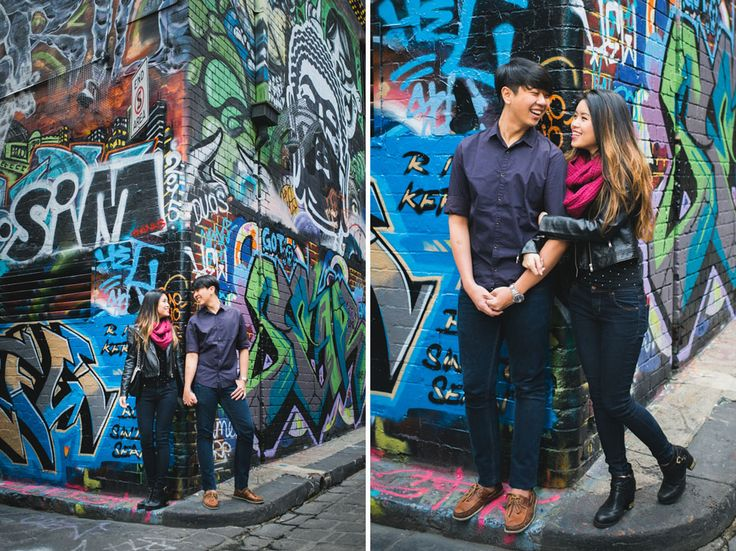 Melbourne City couple photos of Sabrina and Andy in Hosier Lane, amongst the graffiti.