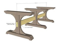 Triple Pedestal Farmhouse table..... Material list, cut list and plans.....