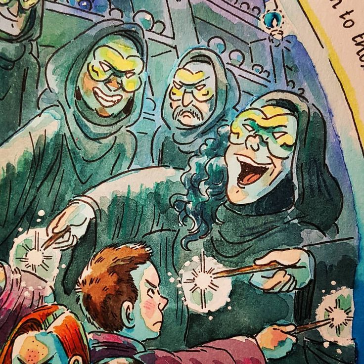Detail from my #orderofthephoenix #illustration: #neville vs #bellatrix and various other #deatheaters! My #salafestival show, Well Read, opens in 2 days! 😆 #watercolor #harrypotter #bellatrixlestrange #nevillelongbottom