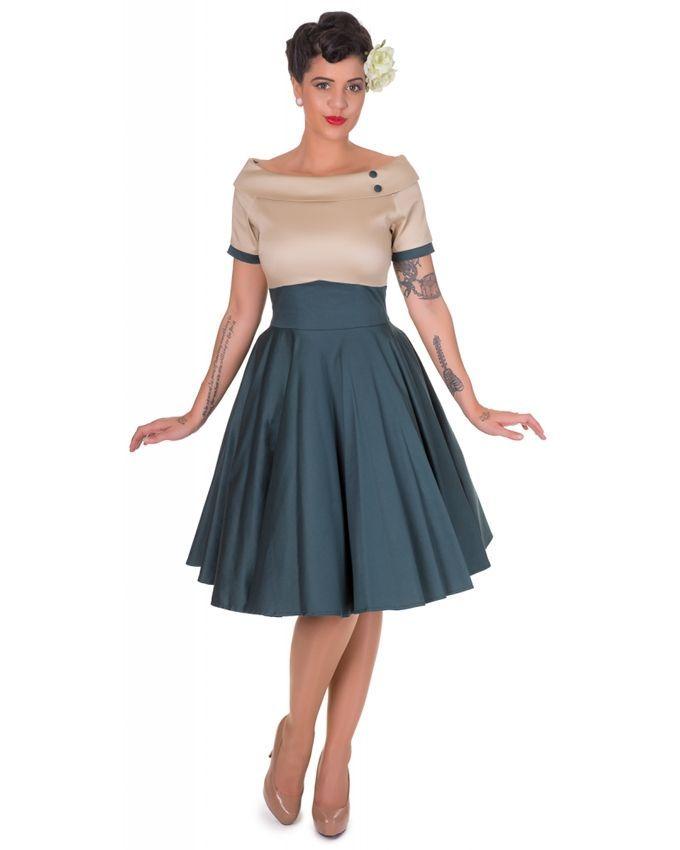 824afe0926b42e GIANNA Vintage Beige Dark Green Dress | Buy online | Jumia Kenya | clothes  | Dresses, Swing dress, Bardot dress