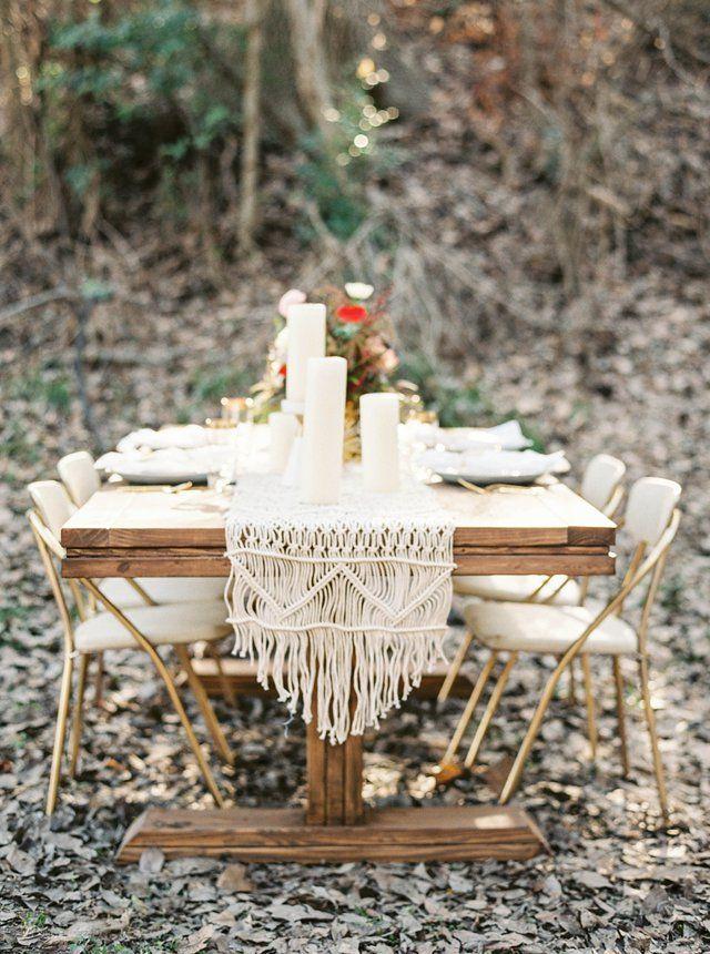 Macrame table runner  | Grace Aston Photography | see more on: http://burnettsboards.com/2015/05/mid-century-modern-boho-wedding/