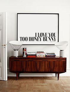 Ich liebe dich zu Honig, Bunny - Pulp Fiction Zitat - Typografie-Poster - schwarz / weiß Art - Kunst & Sammlerstücke - Film-Kunst - moderne Wandkunst