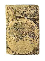 """Обложка на паспорт с кожаной вставкой """"Карта глобусы"""" Eshemoda"""