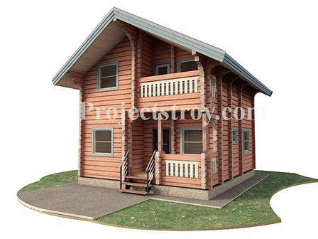 Проект дома 6.5 х 7.5 м  Деревянный дом с четырьмя комнатами из лафета  Показатели для предварительного сметного расчета строительства:  -общая площадь дома -84.4 кв. м;  -объем стен лафет 160х(h)240 мм, заг. 6 м ~ 56 куб. м (отх.~4%);  -погонные метры стен лафет ~ 1440 м;  -балки - 100х200 мм;  -стропила - 50х200 мм;  -площадь кровли и периметр - 98 кв. м - 60 м;  -угол кровли ~29 гр;.  -пог. м фундамента дома (ленточный - плита - сваи по востр.) - 54 м;