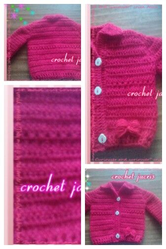 Chaleco a crochet 3/6 meses rojo..
