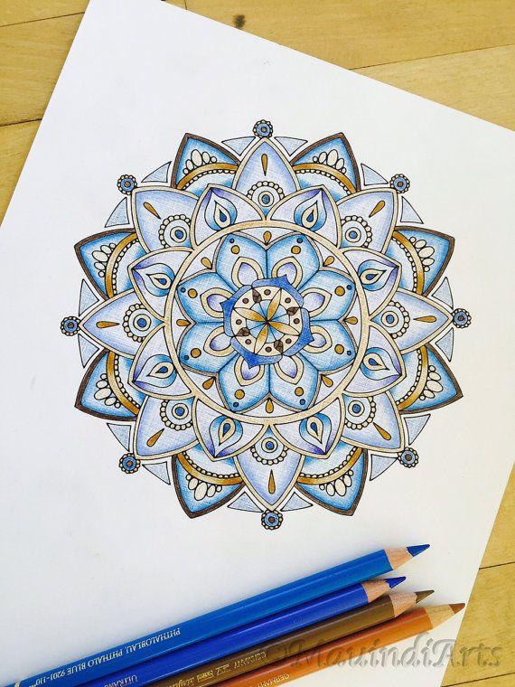 Mandala Armonía dibujado a mano colorante adultos por MauindiArts                                                                                                                                                                                 Más