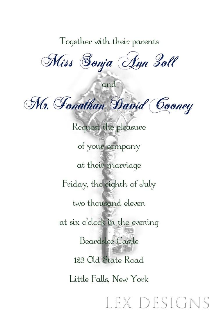 Contemporary Key Themed Wedding Invitations Vignette - The Wedding ...